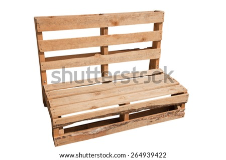 Old wooden shipping pallets converted into an outdoor chair, isolated on a white background.