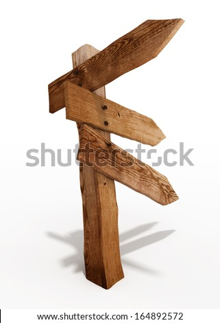 Old wooden sign isolated/ (3d render image)