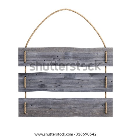 Old wooden sign on the rope isolated on white background. 3d rendering. - stock photo