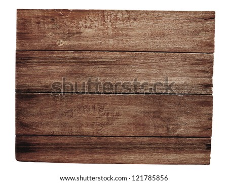 old wooden signboard isolated on white - stock photo