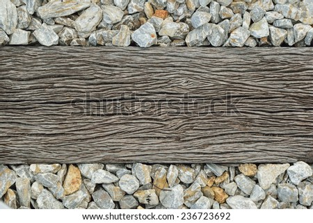 old wooden sleeper on railway - stock photo