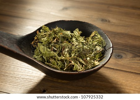 Old wooden spoon filled with natural sweetener dried stevia - stock photo