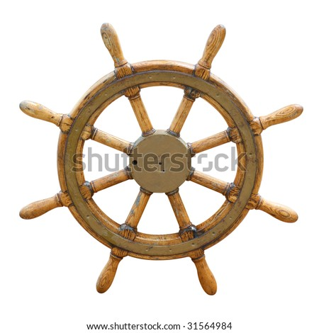Old wooden steering wheel on the boat - stock photo