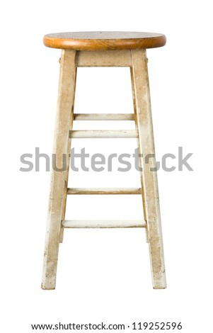 Old wooden stool isolated on white background - stock photo