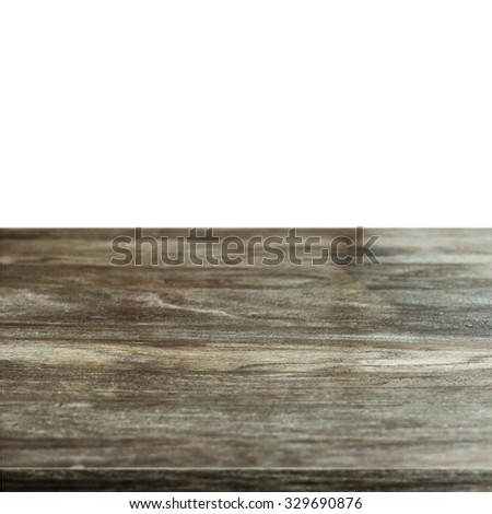 old wooden table isolated on white - stock photo