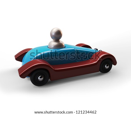 Old wooden toy car isolated on white background - stock photo
