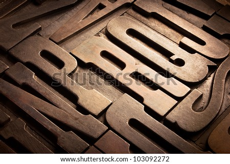 old wooden typographic blocks in perspective - stock photo