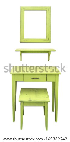 Old wooden vanity table, chair and mirror isolated on white background - stock photo