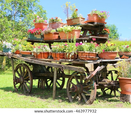 old wooden wagon decorated with many pots of flowers