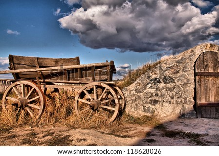 old wooden wagon in the willage, foto was taken in Zaporozie - stock photo