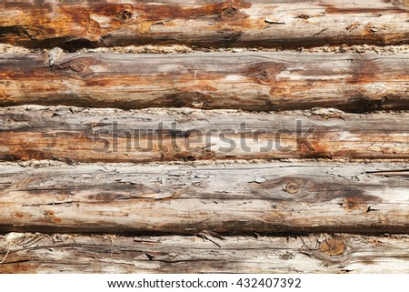 Old wooden wall made of logs, close-up background photo texture - stock photo