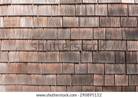 old wooden weathered cedar shakes roof  for texture background - stock photo
