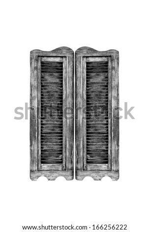 Old wooden western swinging Saloon doors isolated on white background. - stock photo