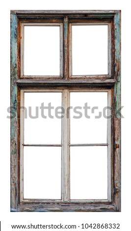 Old Wooden Window Six Pane On Stock Photo (Royalty Free) 1042868332 ...