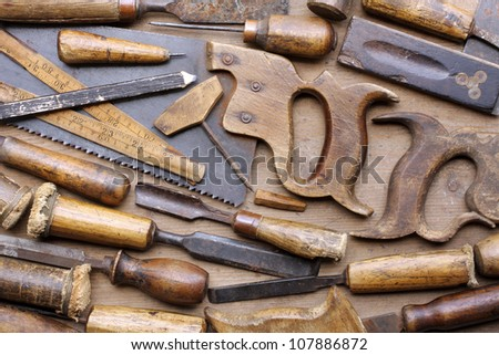 Old woodworking tools - stock photo