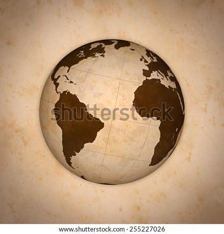 Old World Globe, Atlantic Ocean. - stock photo