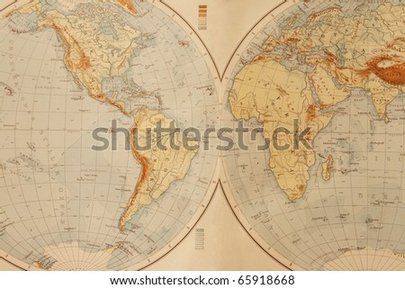 Old world map from 1895. - stock photo