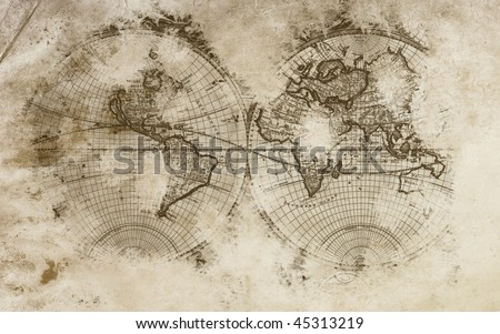 Old world map in a beautiful  background with amazing colors. - stock photo