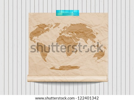 Old world map on retro wooden wall