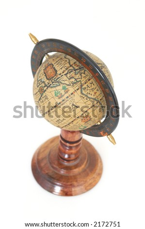 old world map on white background, shallow dof - stock photo