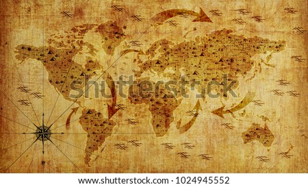 Old World Map, With Arrows And Relief. Photo Wallpaper. 3D Illustration.