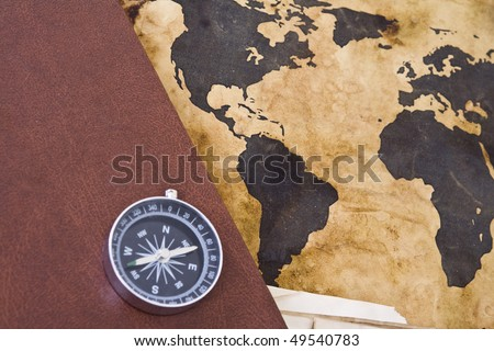 Old world map with compass