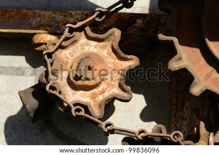 Old worm gear steering system on a steam tractor