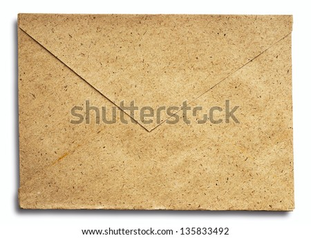 Old worn and grunge brown paper envelope - stock photo