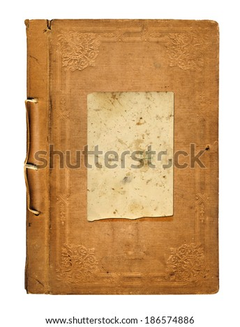 Old worn book cover with ornamental pattern isolated on white background  - stock photo