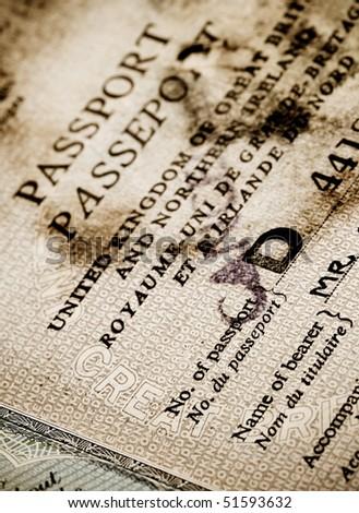 old worn British passport - stock photo