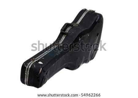 old worn out guitar case isolated on white - stock photo