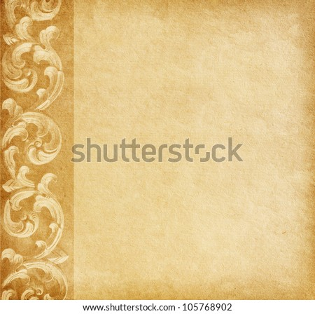 Old worn paper with floral border. - stock photo