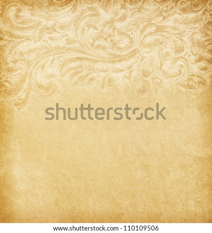 Old worn paper with floral border - stock photo