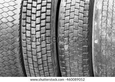 Old worn used car tires