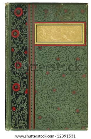 Old, worn, vintage book cover with copy-space for your own text. - stock photo