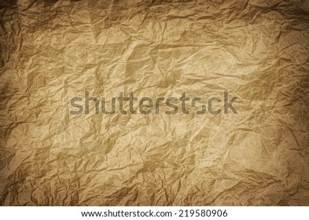 old wrinkled kraft paper texture or background  - stock photo