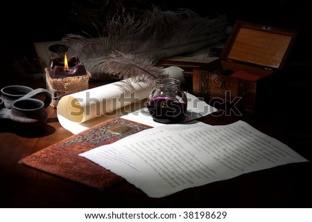 old writer - stock photo