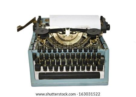 Old writing machine isolated on white - stock photo