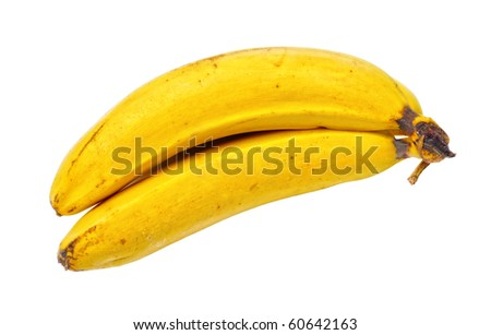 Old yellow bananas isolated on white background - stock photo