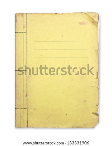 Old yellow folder isolated clipping path. - stock photo