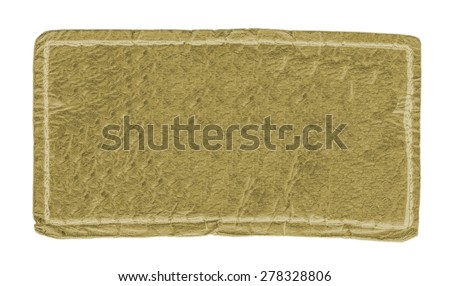 old yellow leather label isolated on white background - stock photo