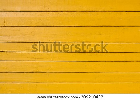 Old yellow painted wooden plank background. Close up