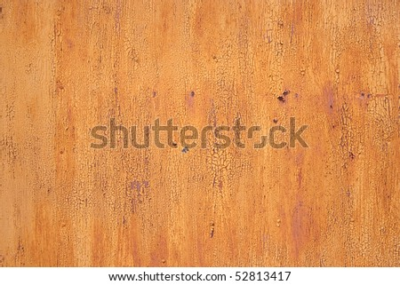 old yellow rusty metal texture with cracked paint - stock photo