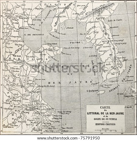 Old Yellow sea coast map. Created by Erhard and Bonaparte,  published on Le Tour du Monde, Paris, 1864