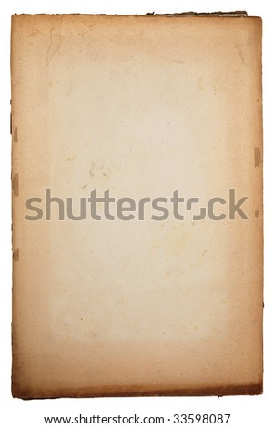 Old yellow textured paper background with scratches and tattered edge - stock photo