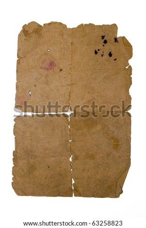 Old yellowed sheet of paper - stock photo