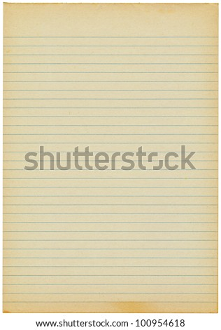 Old yellowing lined blank A4 paper isolated.