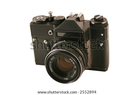 Old Zenit camera. The camera is still protected - stock photo