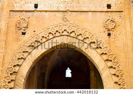 olddoor in morocco  africa ancient and wall ornate brown   - stock photo