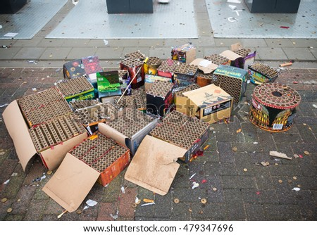 OLDENZAAL, NETHERLANDS - JANUARY 1, 2016: Remnants of fireworks at a waste collection point the day after the traditional new years celebration